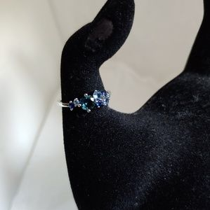 Silvertone Milky Way Ring with Blue Stones
